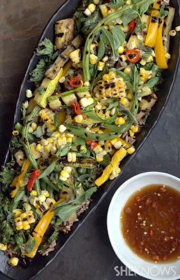 Grilled vegetable salad with Asian vinaigrette