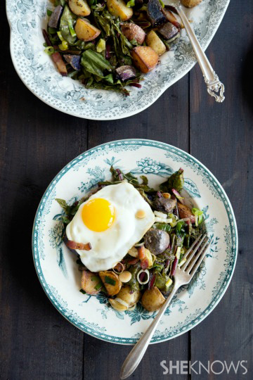 Warm dandelion greens potato salad