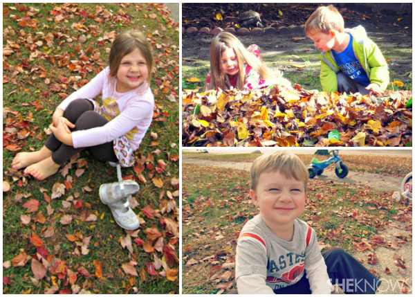 Angela Amman's children - Kids playing in fall leaves
