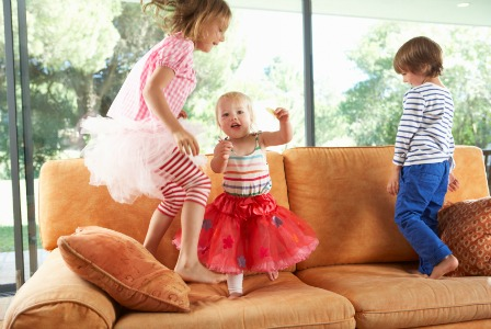 Kids jumping on furniture