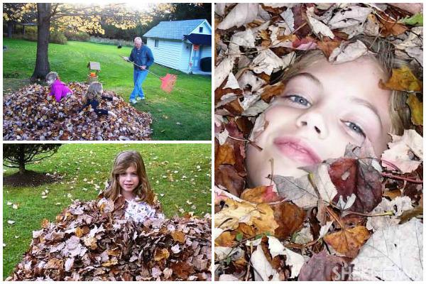 Mary Fetzer's daughters - Kids playing in fall leaves