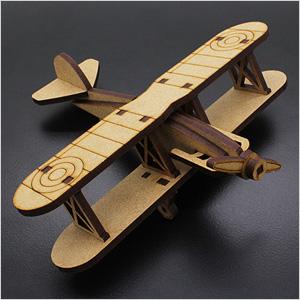 Biplane Laser Cut Wood Model