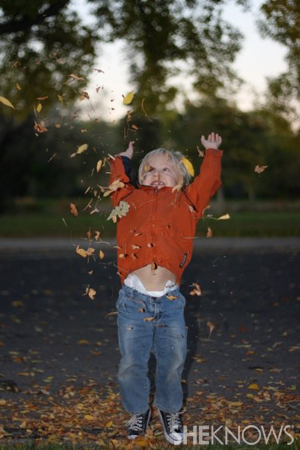 Roxanne Piskel's son - Kids playing in fall leaves