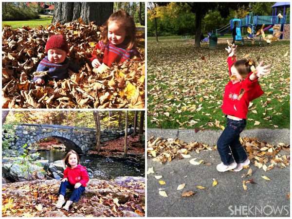 Sarah Russell's children - Kids playing in fall leaves
