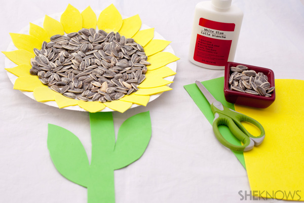 Paper plate sunflower seed craft