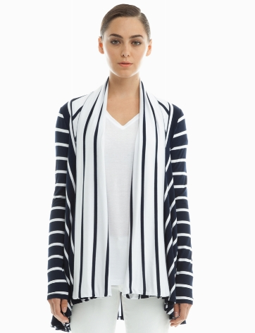 Three Dots Stripe Long Sleeve Open Cardi