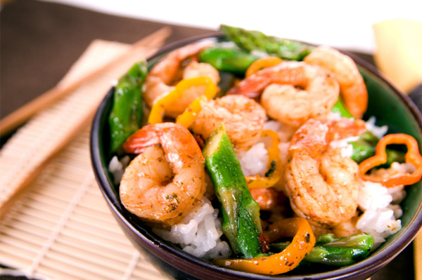Shirmp and aspargus stir fry