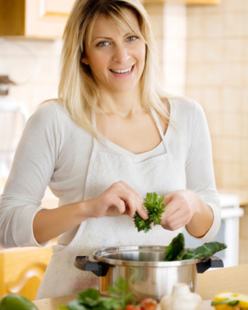 Woman cooking a healthy meal