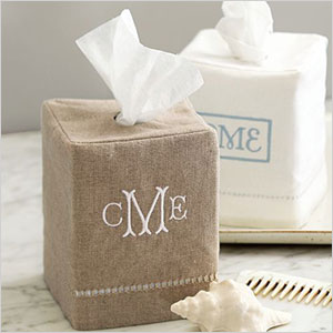Natural fabric tissue box cover