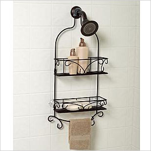 Bronzed showerhead caddy