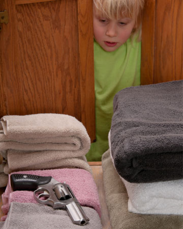 Child finding gun in the linen closet