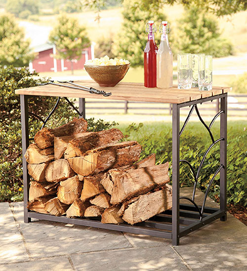 Outdoor eucalyptus storage table with steel frame