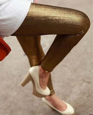 Silvery color ventilate leggings
