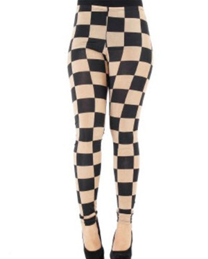 Brown and black checkered leggings