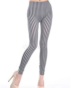 Cool stripe polyester women's slimming leggings