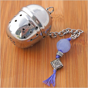 Sterling silver & moonstone stainless steel tea infuser/strainer