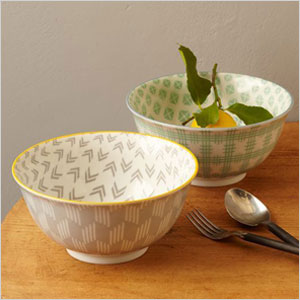 arrow patterned mixing bowl