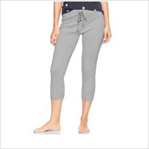 Grey ribbed capri leggings