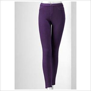 Plum colored twill leggings