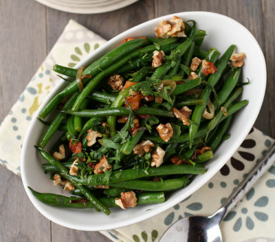 Garnish with lemon, Green Beans with Warm Bacon Vinaigrette