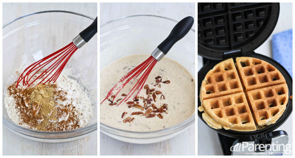 Cinnamon, ginger & pecan waffles collage