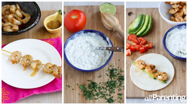 Grilled shrimp tacos with creamy cilantro sauce prep collage