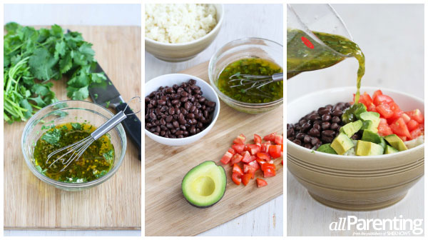 allParenting rice bowls with black beans prep collage