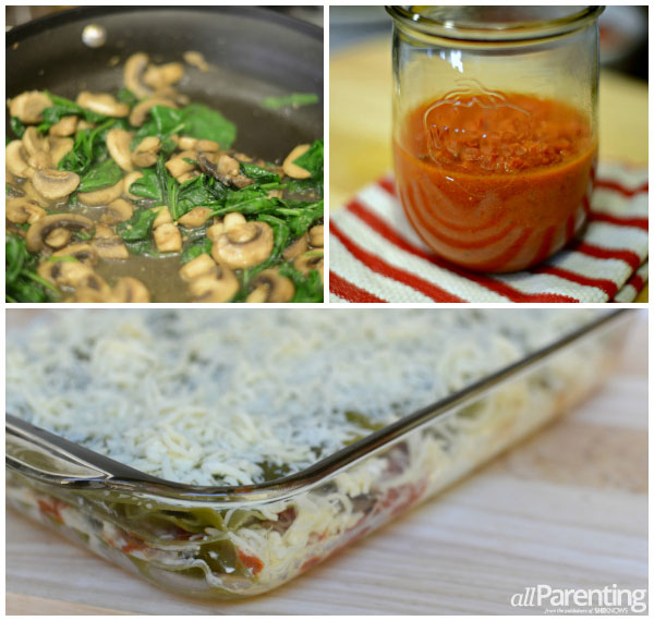 Spinach and mushroom lasagna collage