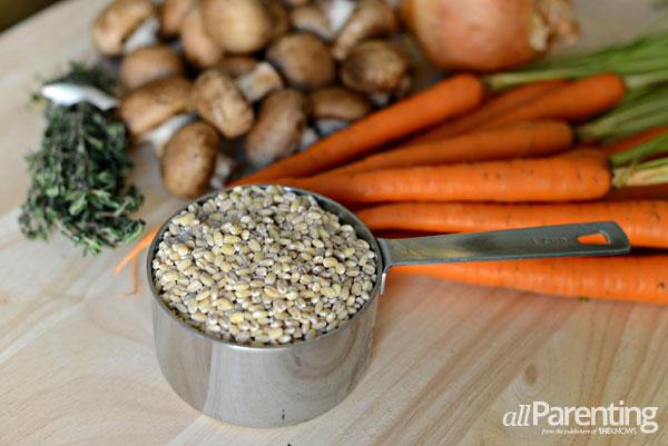 Mushroom barley soup ingredients