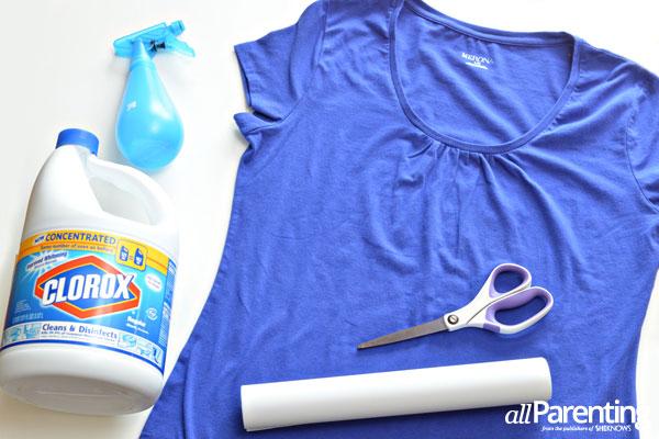 bleach-dyed t-shirt materials
