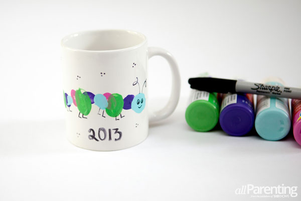 Grandparents day gifts- Thumbprint caterpillar mug