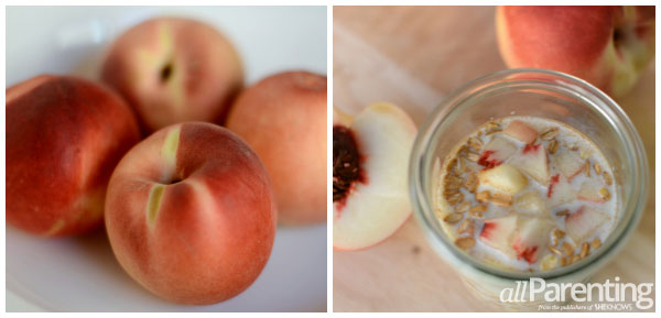 Cinnamon peach overnight oatmeal