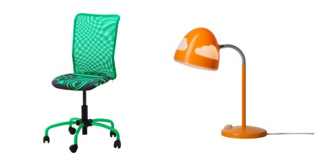 Homework areas for kids- Ikea chair and lamp