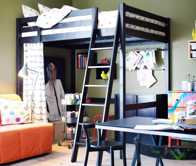 Bedroom: Unique Metal Frame Ikea Loft Bed With Desk