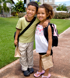 Back to school girl and boy