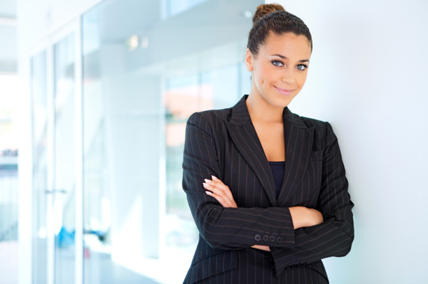 Confident woman in office