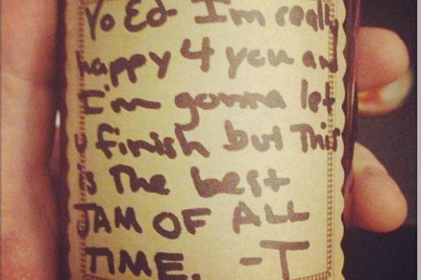 Taylor Swift gives jam to Ed Sheeran, pokes fun at Kanye West