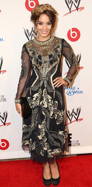 Vanessa Hudgens wearing Temperly London embroidered, tea-length dress for WWE's Superstars for Hop