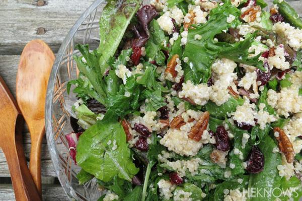Goat cheese and quinoa over spring greens
