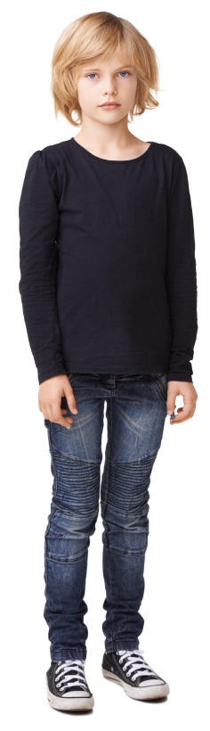 child wearing black shirt and jeans
