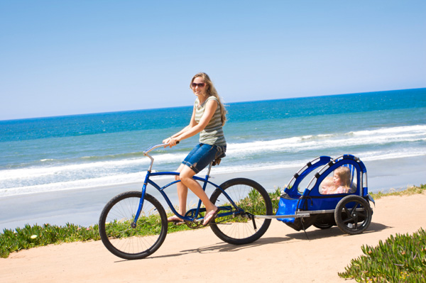 Mother riding bike in San Diego