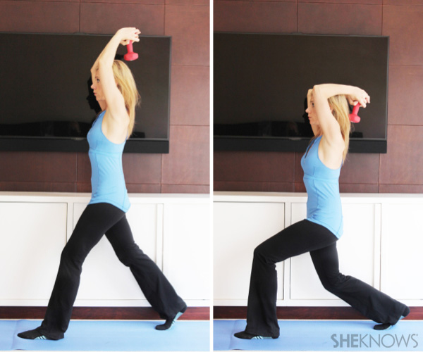 Lunge with triceps overhead:2-4 sets of 12-15repetitions