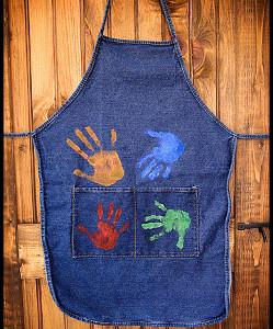 DIY handprint jean apron