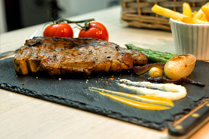 Steak grilled on slate
