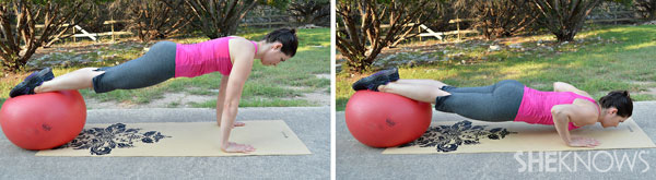 stability ball pushup | SheKnows.com