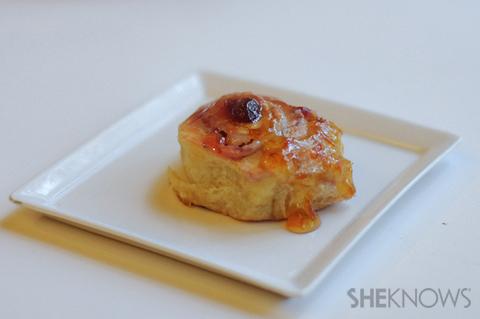 Strawberry jam rolls with orange glaze
