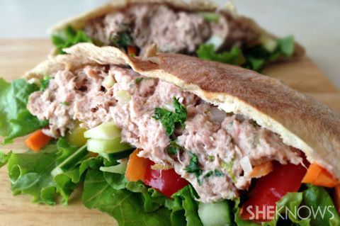 Lower-fat tuna salad pita with fresh veggies recipe