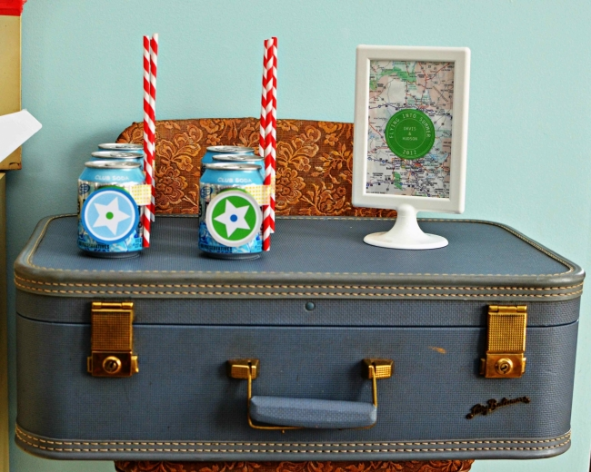 vintage suitcase prop for airplane party