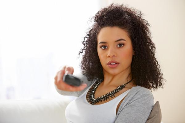 Woman watching reality tv