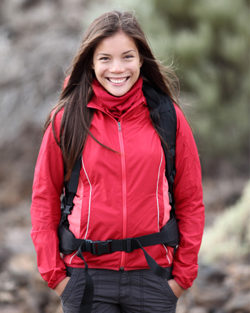 Woman on fall hike